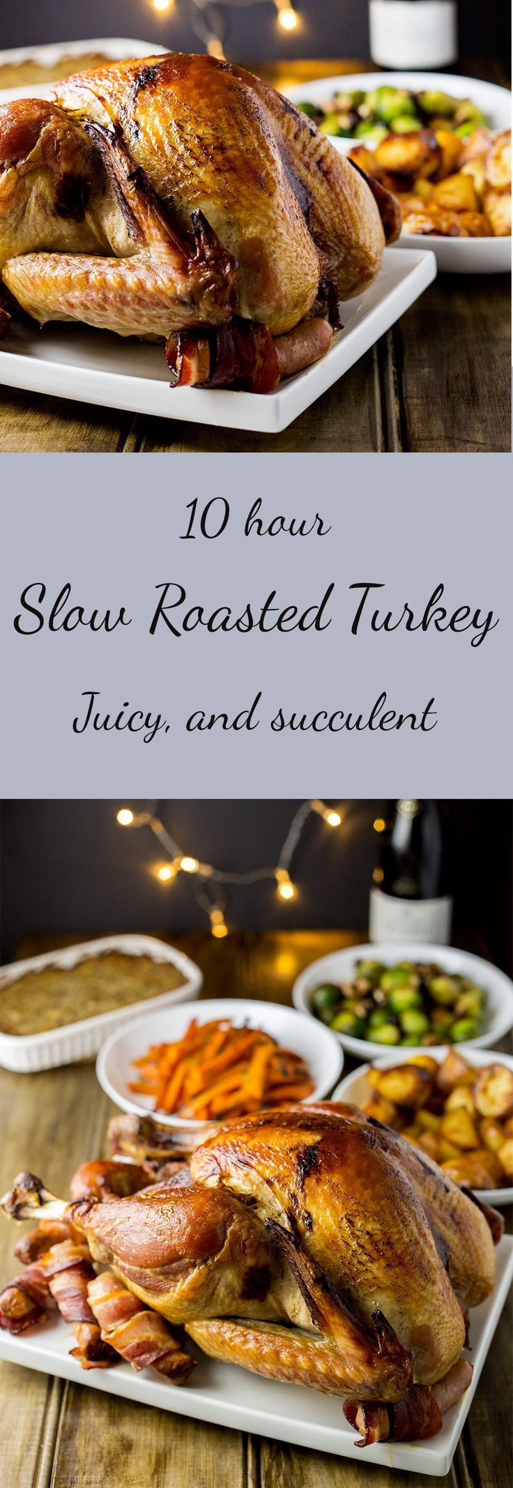 This slow roasted turkey is juicy and so simple. Without any basting, brining or intricate butter rubbing bacon weaving, you get a moist delicious bird.  AND it is cooked slowly overnight, meaning your oven is free for all the other Thanksgiving/Christmas goodies!!!!