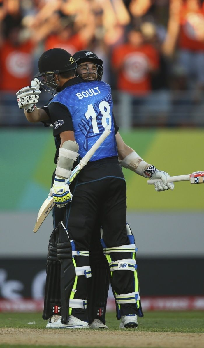 Despite a flurry of late wickets, Kane Williamson and Trent Boult steer New Zealand to the target with just one wicket to spare.
