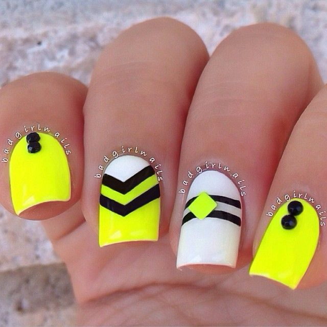 Neon nails and black studs ===== Check out my Etsy store for some nail art supplies https://www.etsy.com/shop/LaPalomaBoutique