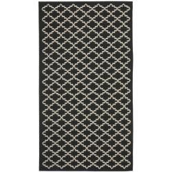 Lovely Black And White Kitchen Mat: Poolside Black/ Beige Indoor Outdoor Rug (2u0027