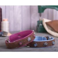 Hundehalsband Leder - Bavaria - braun mit pink oder hellblau