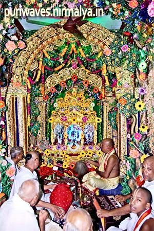 Lord Krishna is widely worshiped and festivals like Jhulan Yatra are observed for him. Between the Mukti-Mandap and the main temple on a raised open stage the rishna-Radha idols are placed in a decorated swing and whole array of Leelas, Bhajans and festivities goes on till late night in the precinct of Jagannath temple.