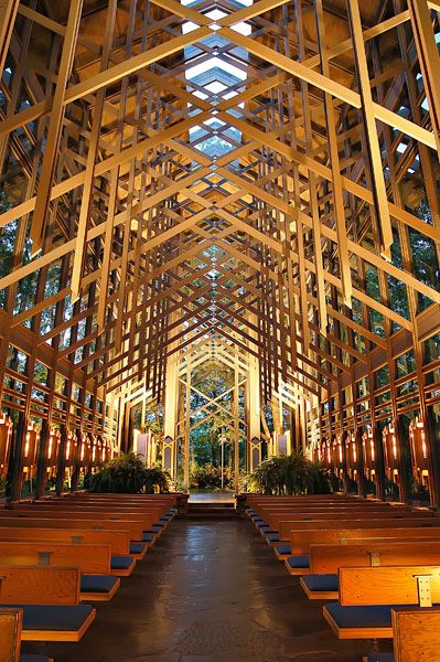 Constructed in 1980, Thorncrown Chapel rises forty-eight feet in the Ozark sky, nestled in the woods of Eureka Springs, AR.