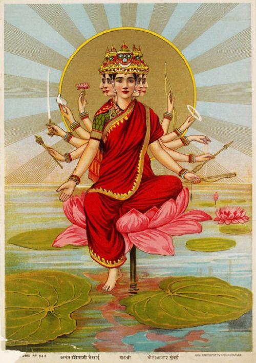 uijayi: hinducosmos: Gayatri Mata Gayatri hymn personalised as a Goddess with five faces and 10 arms Chromolithograph (1871 - 1930) Maker: Ravi Varma Press. Mumbai, India (via Ashmolean Museum, University of Oxford) Om bhu bhuvaha swaha