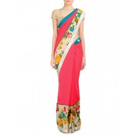 Hot Pink Sari with Multicolor Floral Prints