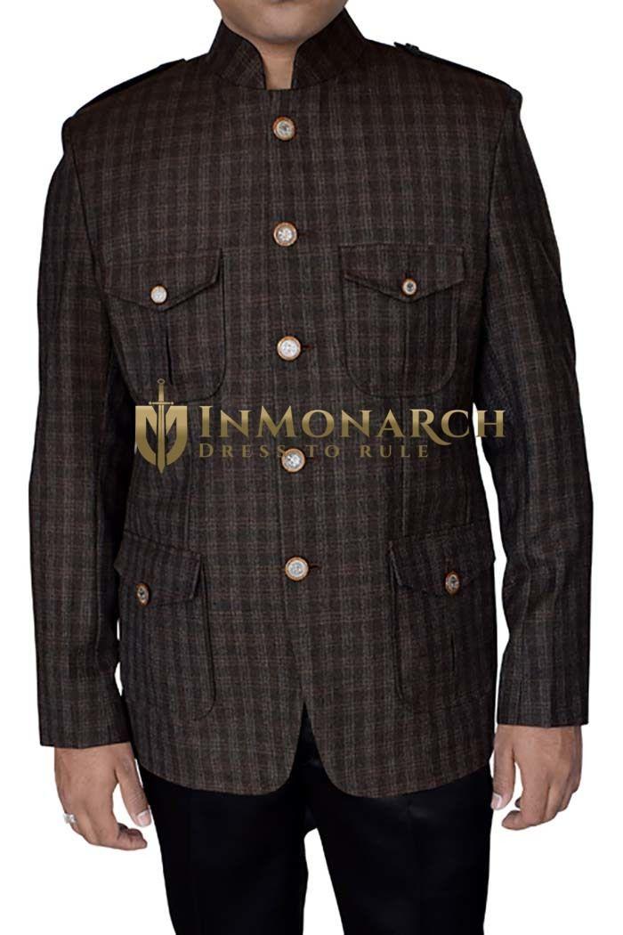 Mens Brown Tweed Wool Nehru Jacket Safari 4 Pocket