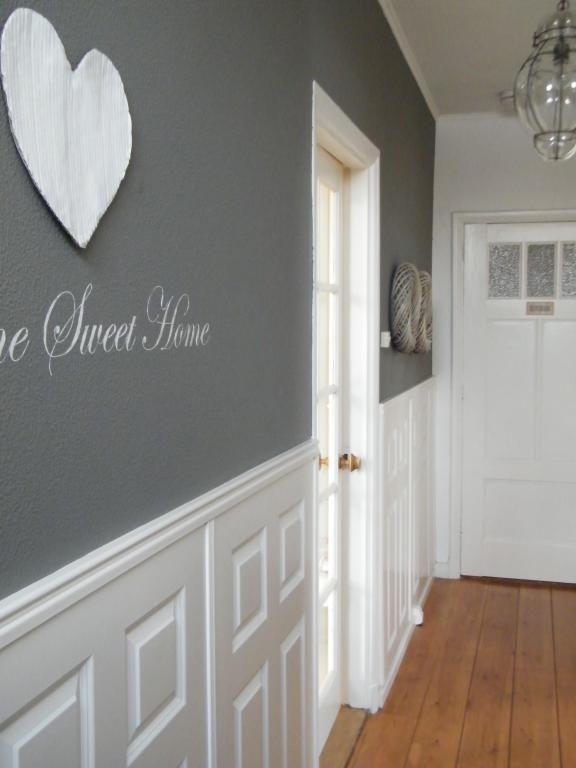 white wainscoting & dark gray walls