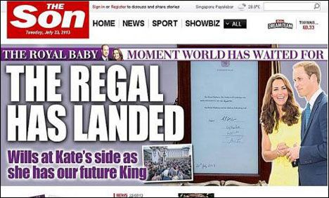 """The UK's Sun newspaper changed it's name to """"SON"""" to commemorate the birth of the Royal Baby on 7/23/13."""