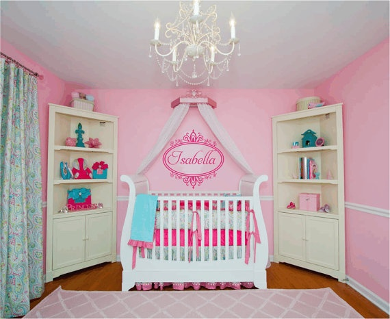 Name Wall Decal Girl Baby Nursery Vinyl Wall Decals Shabby