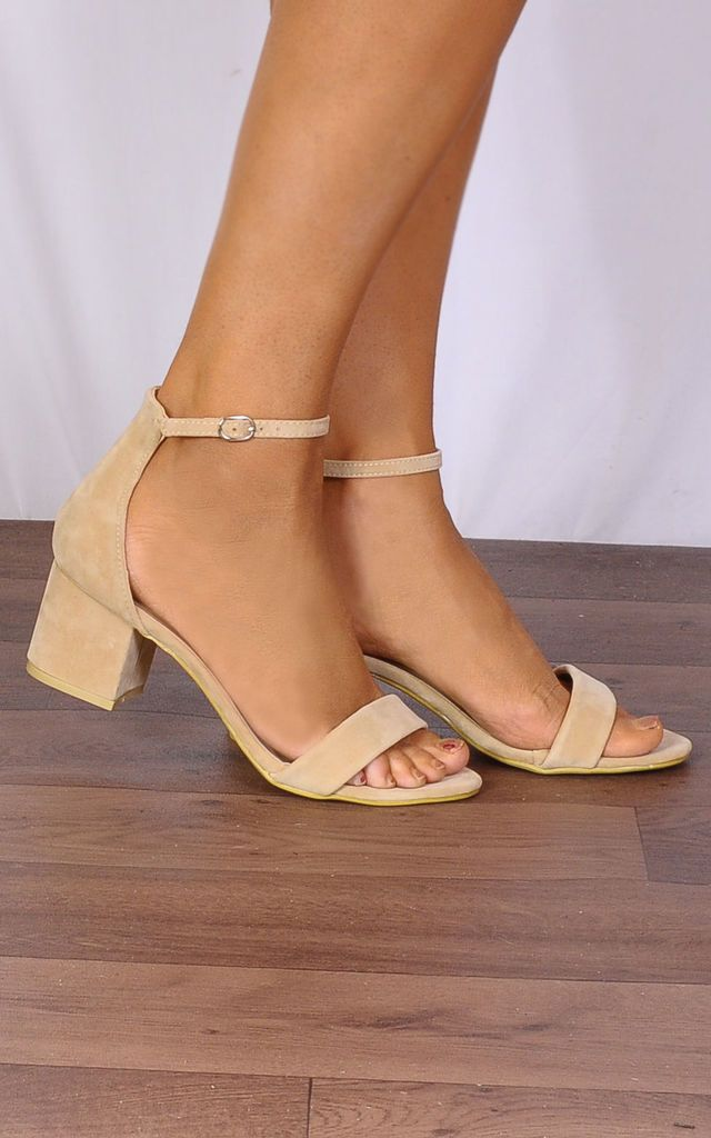 3eed91db554d Nude Barely There Low Heeled Peep Toes Strappy Sandals by Shoe Closet