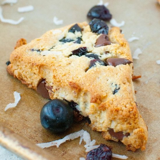 Blueberry Chocolate Chip Scones; Paleo and gluten-free for a berry, berry chocolicious breakfast