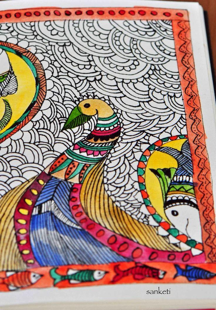 easy madhubani paintings to draw   Google Search. 116 best MADHUBANI PAINTAINGS images on Pinterest   Indian