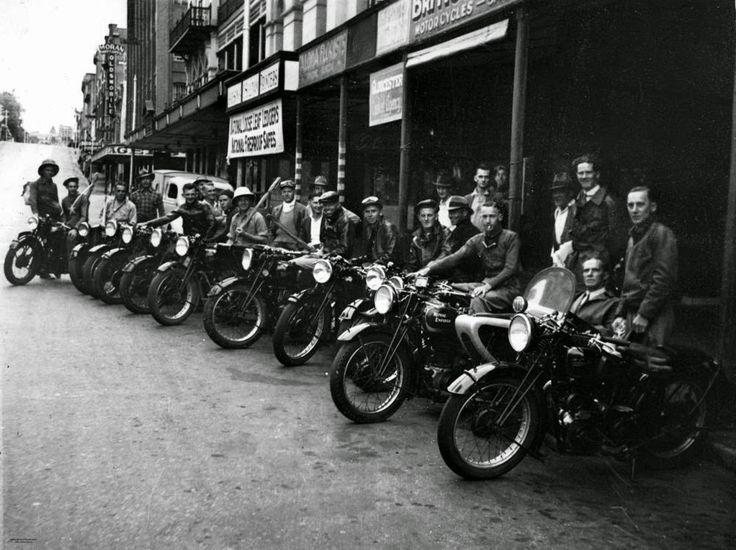 Members of the Brisbane Motorcycle Fishing Club, Adelaide Street, Brisbane, 1938.   vintage everyday: Interesting Vintage Photos of Motorcyclists in Queensland, Australia