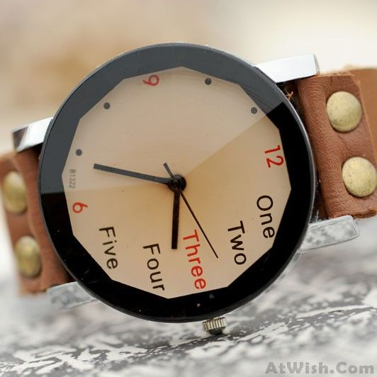 Wow~ Awesome Retro Creative Number Leather Watch! It only $27.9 at www.AtWish.com! I like it so much<3<3!