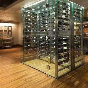 wine cellar .. ღɱɧღ || Alice Lane Home - basements - modern glass wine cellar, wine cellar, wine cellar ideas, basement wine cellar, modern wine cellar, wine storage, walk in glass wine chiller, walk in glass wine cellar, basement wine storage, bar cart, nickel bar cart, bar area, mirror backed bar shelves, mirror backed floating shelves, freestanding wine cellar, freestanding glass wine cellar, freestanding wine cellar, wine cellar room, glass wine cellar, glass wine cellar room, see thru…