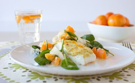 #Epicure Mango Curry Fish with Clementine & Fennel Salad (210 calories/serving)