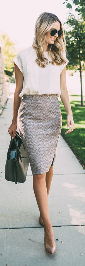 Cute outfit. Classic shirt with fitted detailed skirt. For me, skirt can't be more than an inch or two above the knee.                                                                                                                                                                                 More