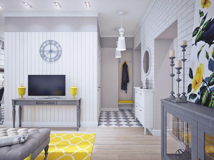 Фотография:  в стиле , Гостиная, Кантри, Классический, Карта покупок, Желтый, Синий, Серый – фото на InMyRoom.ru