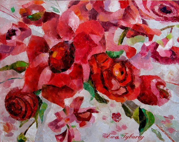 http://etyburcy.wix.com/malarstwo  #ewatyburcy #obrazolejny #kwiaty