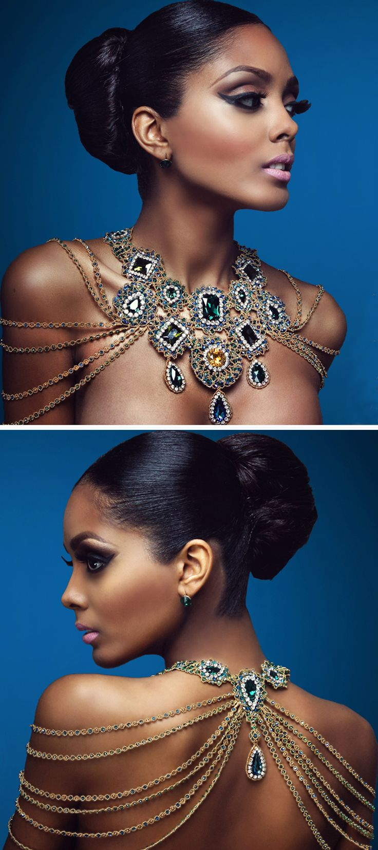 Neckpiece | Edgar López Designs. Like how the chains fall on the back and shoulders - not so much the glitz...