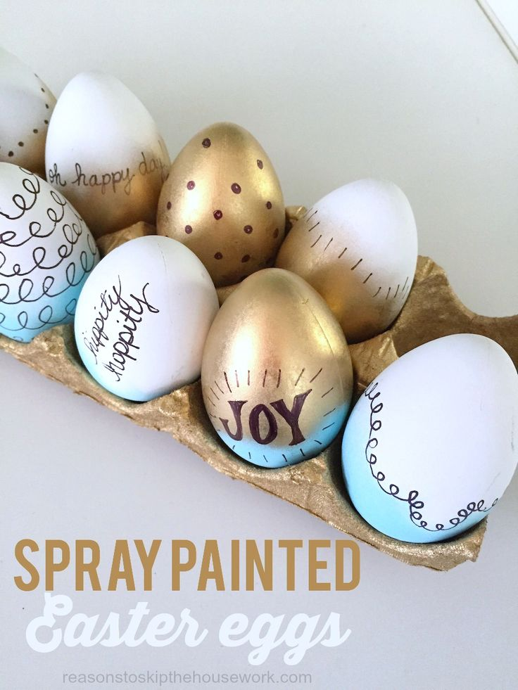 Spray painted Easter Eggs with a fun Sharpie flair!