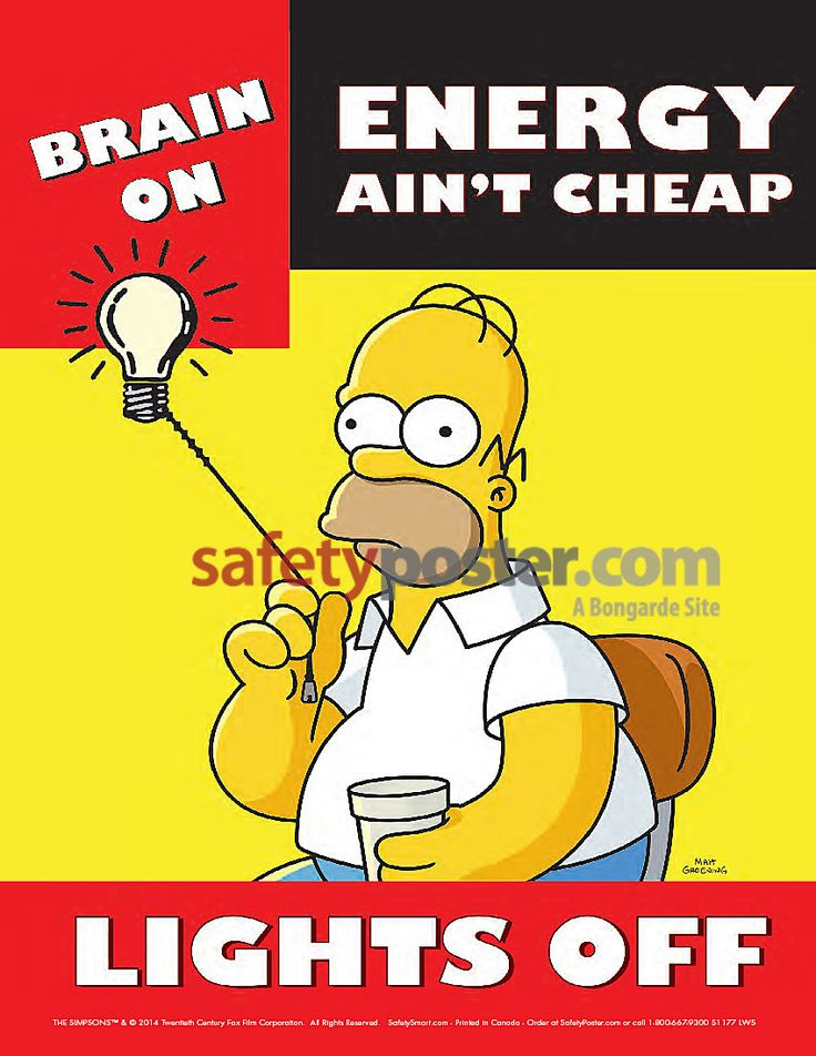 simpsons poster | Simpsons Safety Posters - Simpsons Save Energy Poster S1177