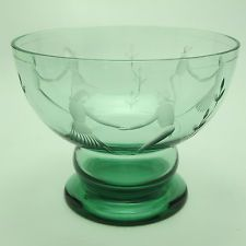 Vtg Signed F R Karhula Green Art Glass Compote Bowl W/Deep Cut Dancers Finland