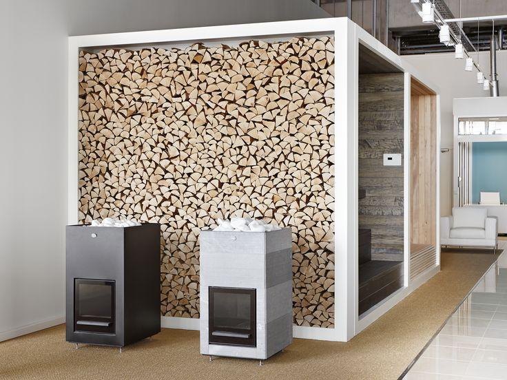 Tulikivi puukiukaat Tammistossa. Tulikivi wood-burning sauna heaters at Studio Tammisto.