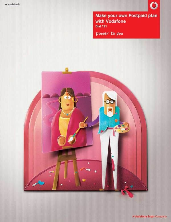 Paper perfect Indian characters - Vodafone  Advertising, Crafts, Illustration