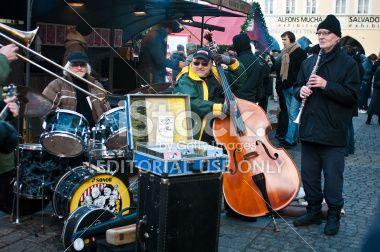 Street jazz orchestra in Prague Royalty Free Stock Photo