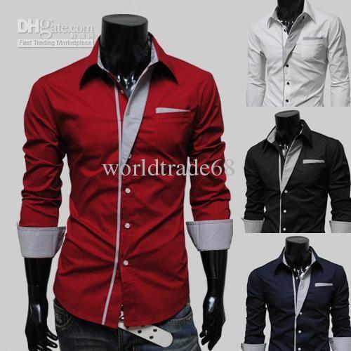 Nueva llegada de los hombres de hombres de moda coreano delgado racha de las camisas de los hombres de camisas de vestir 4 colores eligen