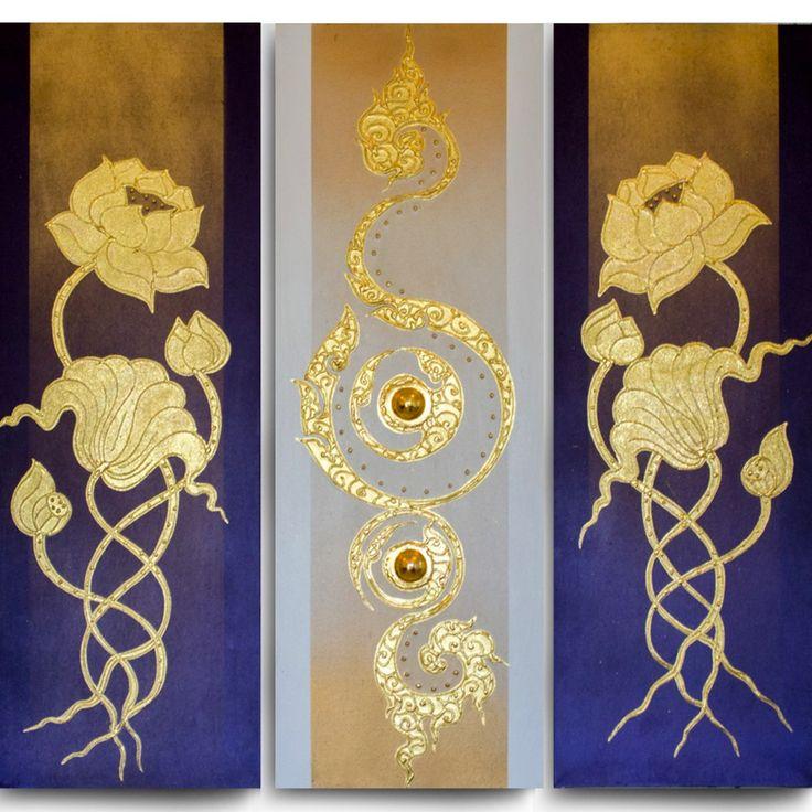 The Golden Lotus Paintings For Home Decor. Thai Handmade