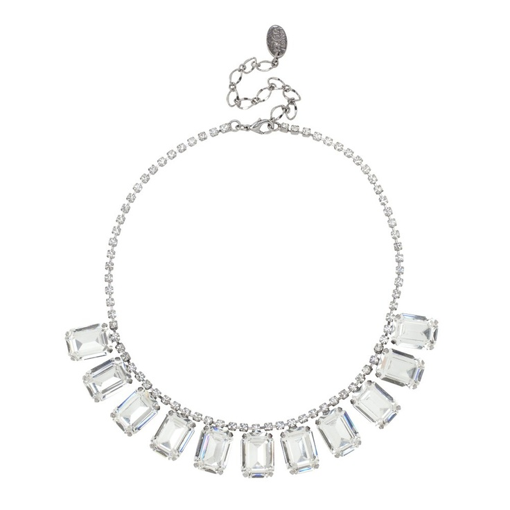 £40 reduced from £100. Jon Richard Diamante Crystal And Square Stone Allway Necklace