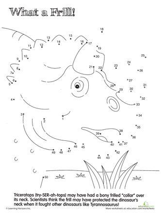 Worksheets: Dino Dot to Dot: Triceratops