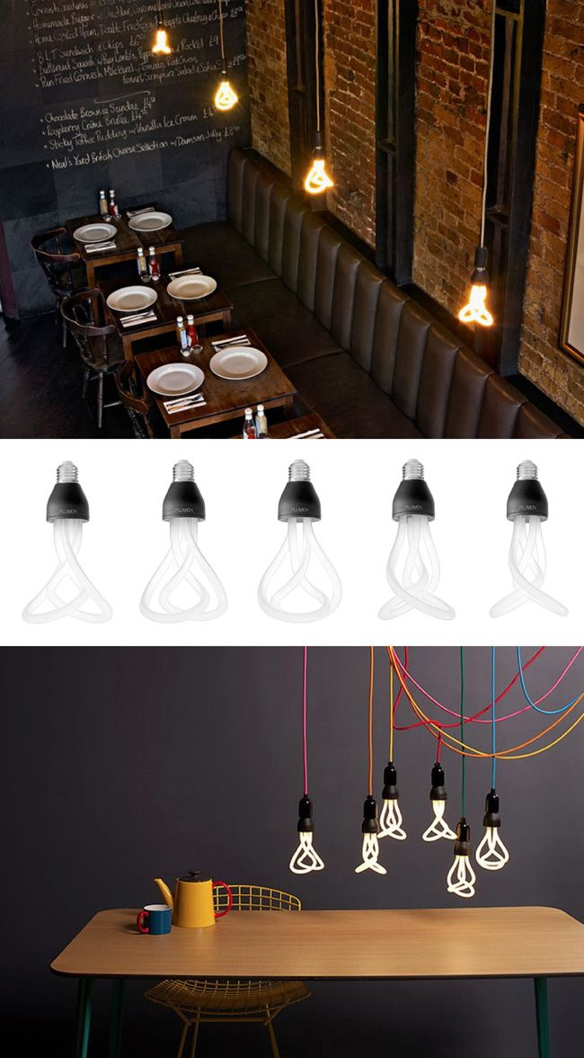 Plumen, the world's first designer energy saving light bulb. Especially like them as bare bulbs - perhaps cluster into a chandelier?