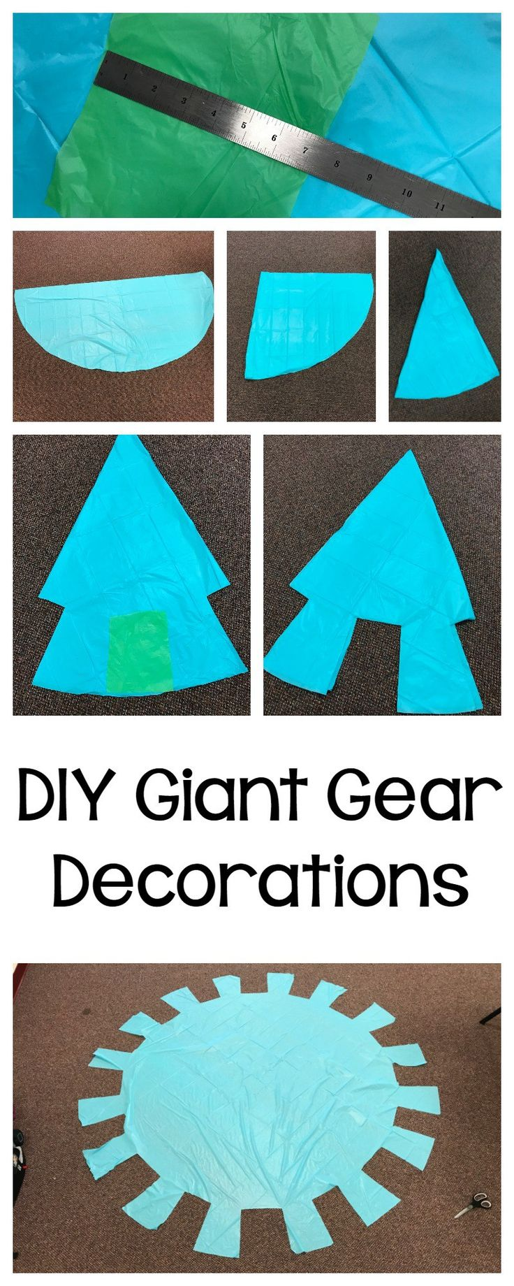 I love decorating for a dollar! My last decorating for a dollar project was the blue paper decorated as blueprints. These giant gear decorations areeven faster and easier… and each one is a whopping SEVEN FOOT gear! This is a great way to decorate large spaces without investing a lot of time or energy. I'm...