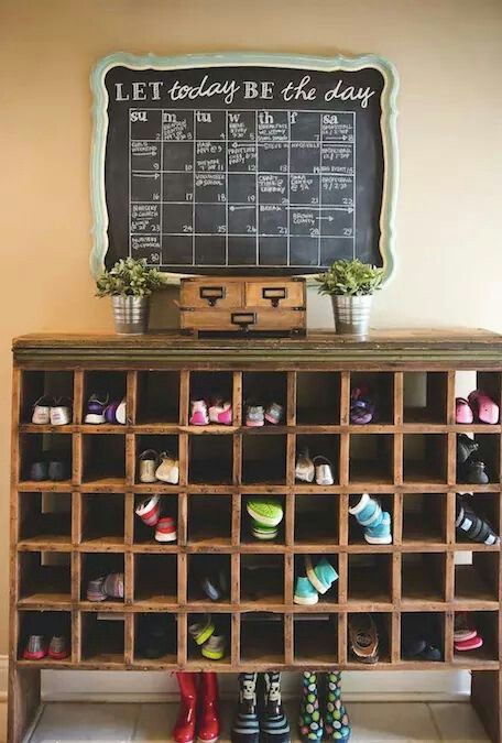 shoe organizer and chalk board calender