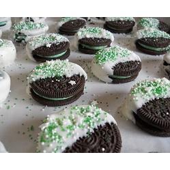Cool Mint Oreos - Grocery List: ■Vanilla Almond Bark ■Sprinkles  ■Mint Oreo Cookies