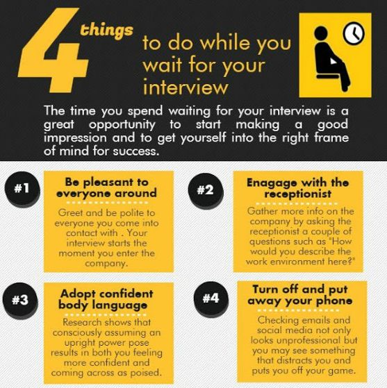 #interviewguide whatever you are doing in the interview hall will be noticed!! Here are the 4 important things to do while you  wait for an #interview #jobtips #interviewtips #fresher #jobseekers