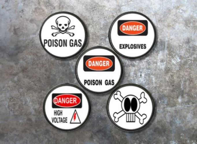 Edgy Danger Signs Knobs | Pulls - No. 115A4