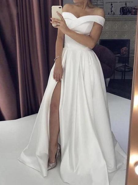 Simple A-Line Off Shoulder Split Floor Length Wedding Dresses,FPWD104