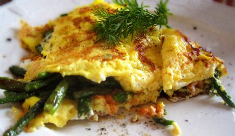 Ketosis Asparagus Cheddar Omlette with Bacon
