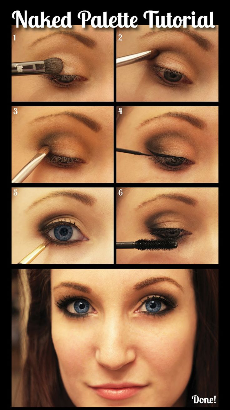 Naked Palette Tutorial—The Everyday Smokey! 1: Virgin 2: Buck in crease and outer corner 3: Darkhorse in outer corner and inner most crease inside Buck perimeter. Blend 4: Line eyes 5: Darkhorse on lower lash line for smokey look 6: Mascara