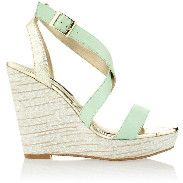 White House Black Market Womens Divinity Green and Gold Wedges found on Polyvore