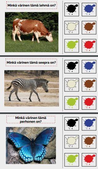 Tarinassa opetellaan värejä suloisten eläinten kanssa.