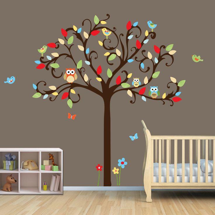 Vinyl Wall Decal, Owl Decal, Owl Tree Wall Decal with Flowers and Birds, Vinyl Wall Decal, Owl wall art. $75.00, via Etsy.