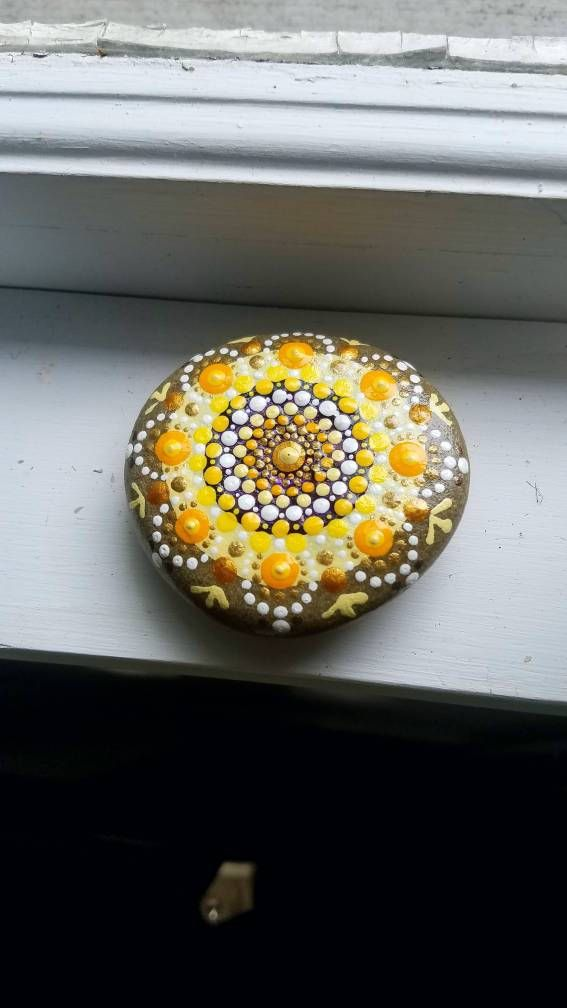 Sunshine Mandala Stone/Dot Art/ Hand Painted home decor/