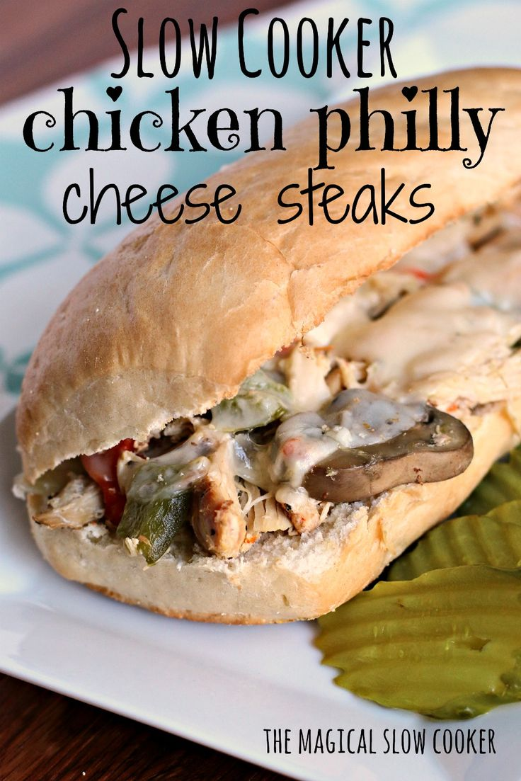 Slow Cooker Chicken Philly Cheese Steaks via themagicalslowcooker | #crockpotrecipes #phillycheesesteak