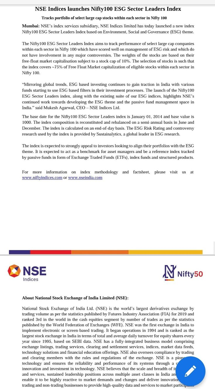 Nifty ESG Sector Index Indian Stock Market Hot Tips