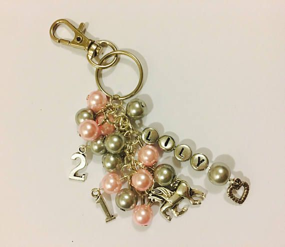 Personalised Handbag Charm, 21st Birthday Gift, Special Birthday Gift, Beaded Keyring, Gifts for Girls, Changing Bag Charm